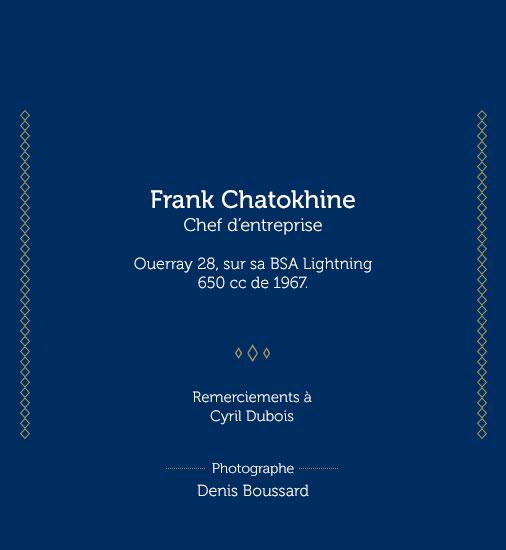 Panneau Frank Chatokhine Chef d'entreprise. Ouerray 28, sur sa BSA Lightnin 650 CC de 1967