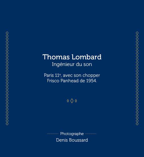 Thomas Lombard, Ingénieur du son. Paris 11e, avec son chopper Frisco Panhead de 1954. Denis Boussard photographe