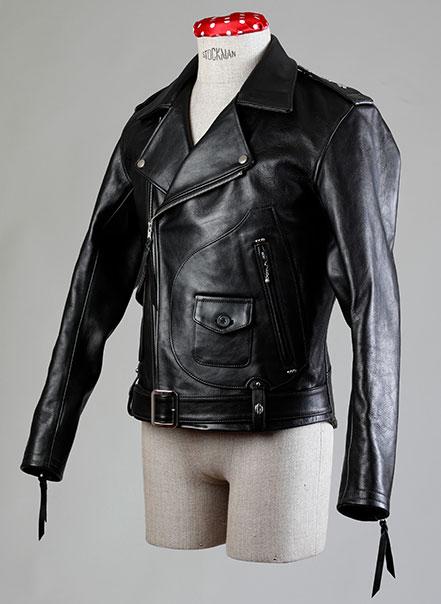 Blouson noir deluxe vu de trois quarts - Les Motocyclettistes