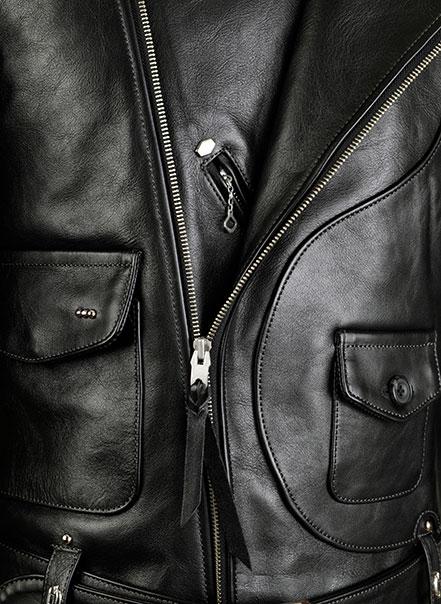 Blouson noir deluxe - Détail fermeture éclair - Les Motocyclettistes