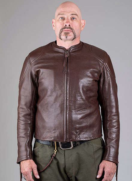 Blouson Grand prix de France marron Les Motocyclettistes vu de face