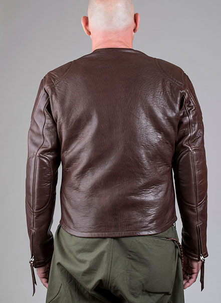 Blouson Grand prix de France marron Les Motocyclettistes vu de dos