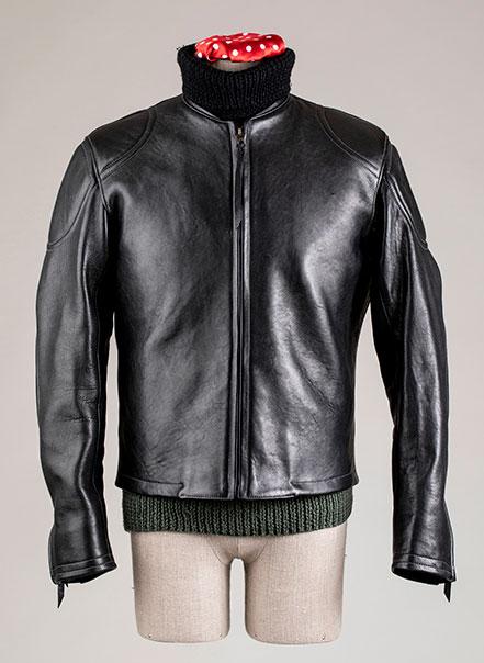 Blouson cuir Grand prix de France noir Les Motocyclettistes vu de face