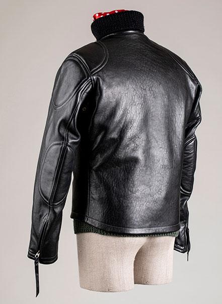 Blouson cuir Grand prix de France noir Les Motocyclettistes vu de trois-quarts