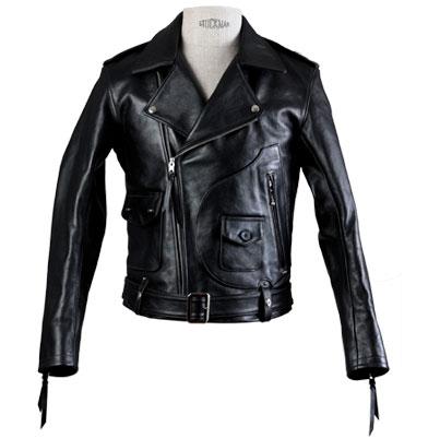 Blouson noir Deluxe en cuir Les Motocyclettistes - Vignette 2